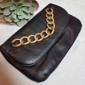 Lauren Conrad Linea Pelle black clutch